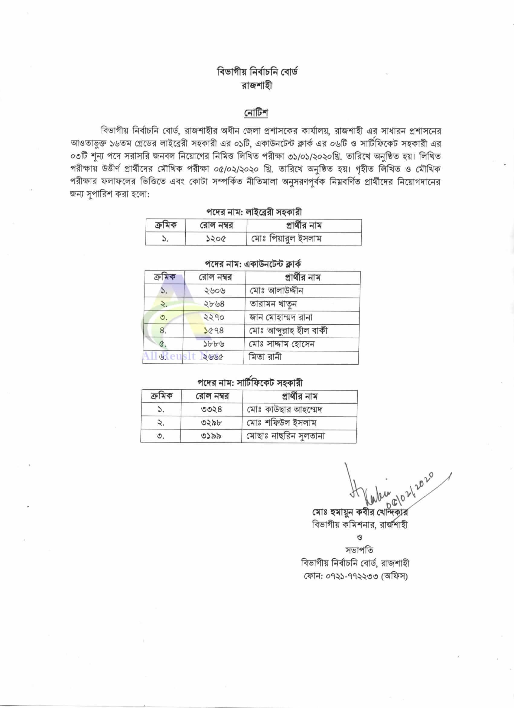Rajshahi DC Office Result 2020