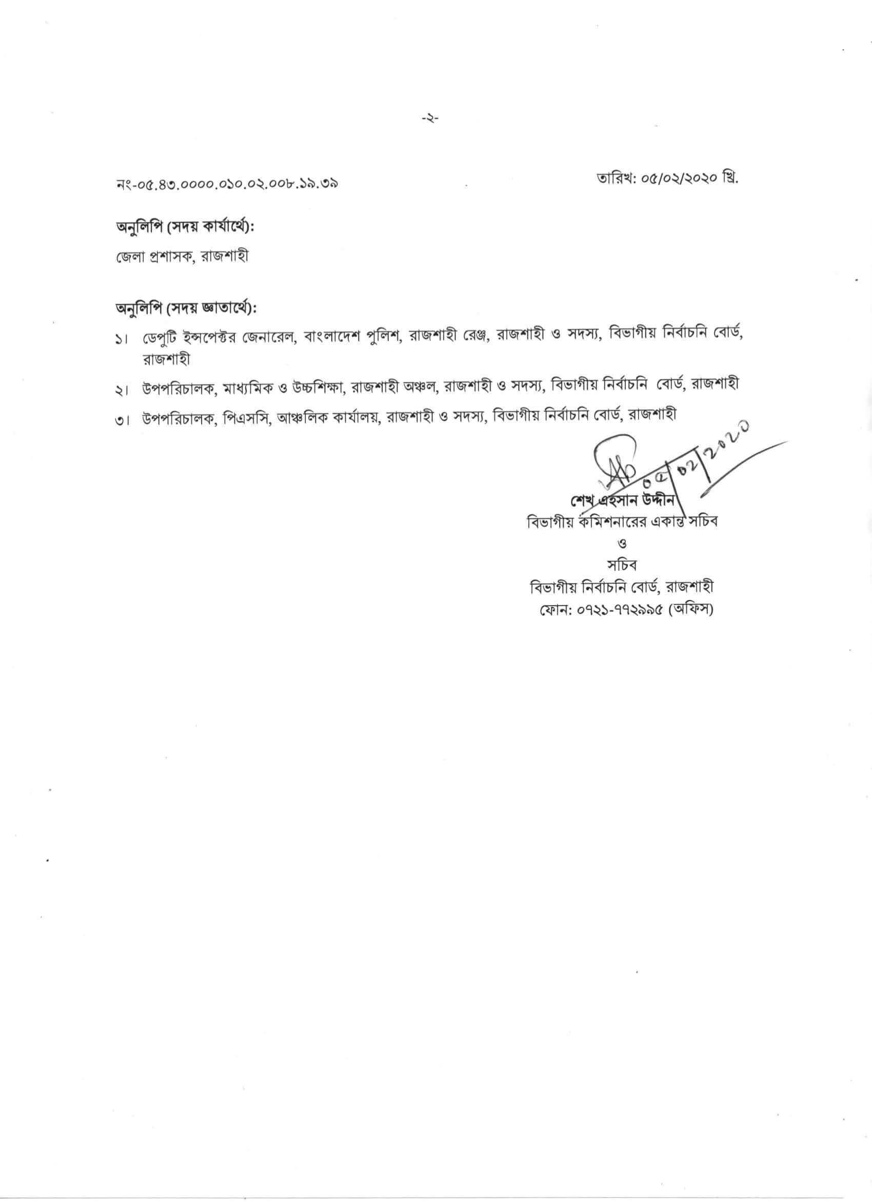 Rajshahi DC Office Job Result 2020