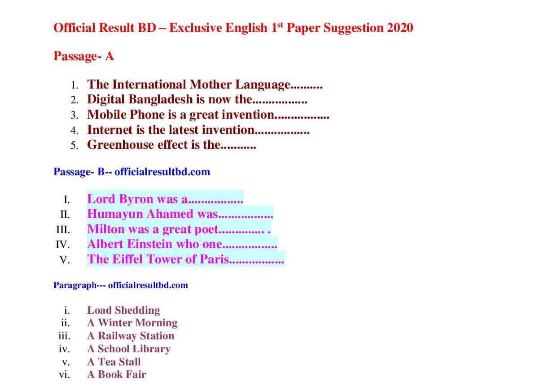 SSC English Suggestion 2020