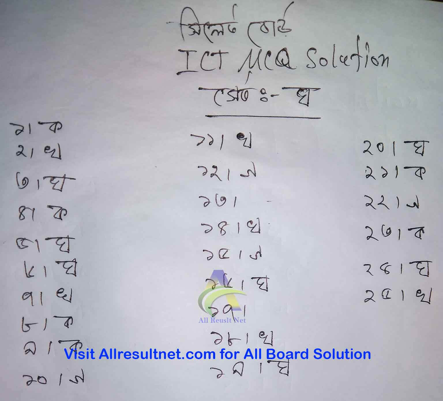 Sylhet Board SSC ICT MCQ Answer 2020