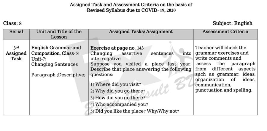 Class 8 Assignment Answer English