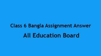 Class 6 Bangla Assignment Answer 2021