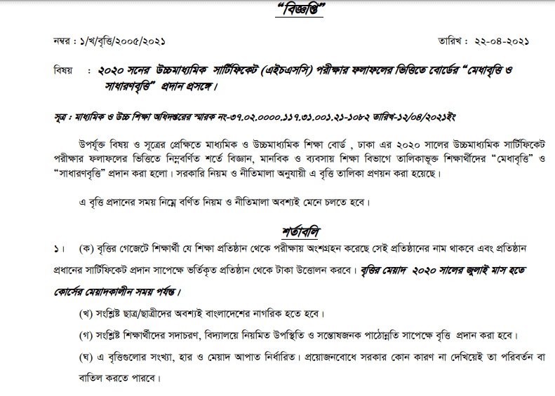 Dhaka Board HSC Scholarship Result 2021
