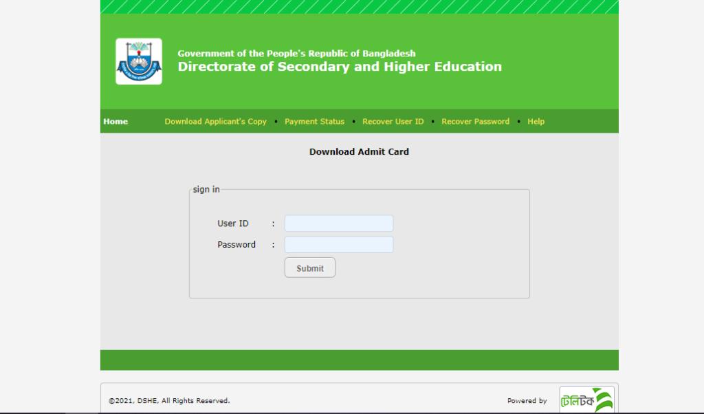 DSHE Admit Card 2021 Teletalk