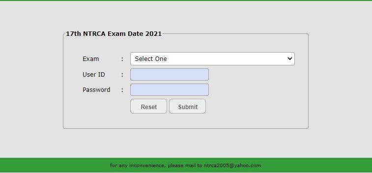 17th NTRCA Exam Date 2021